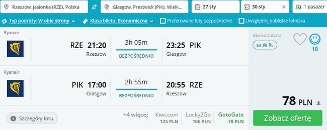 rezerwacja lotów do Glasgow