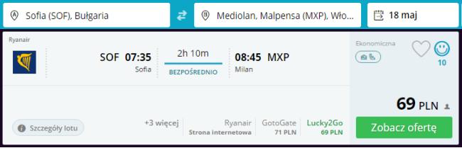 Rezerwacja przelotów z Sofii do Mediolanu