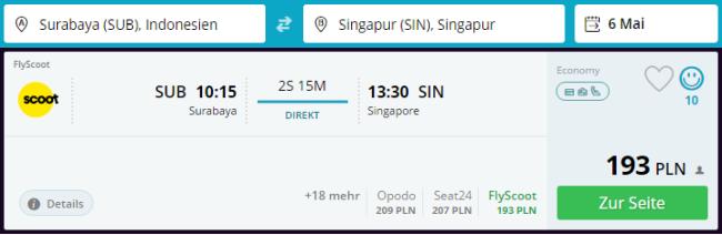 Rezerwacja przelotów z Jawy do Singapuru