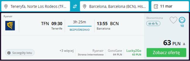 Rezerwacja przelotów z Teneryfy do Barcelony