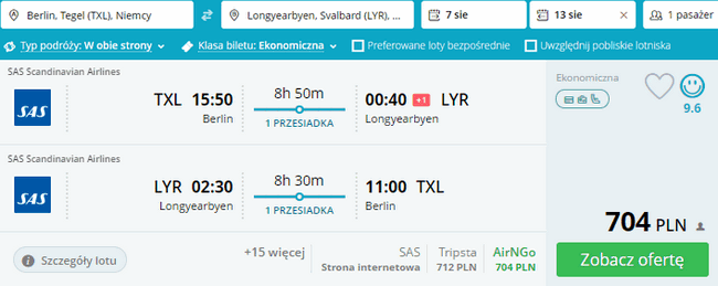 rezerwacja lotów na Spitzbergen