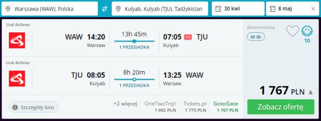 Rezerwacja przelotów z Warszawy do Tadżykistanu