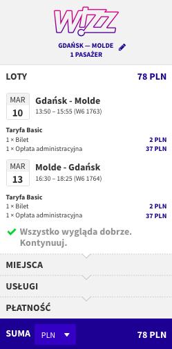 zarezerwuj lot do Molde
