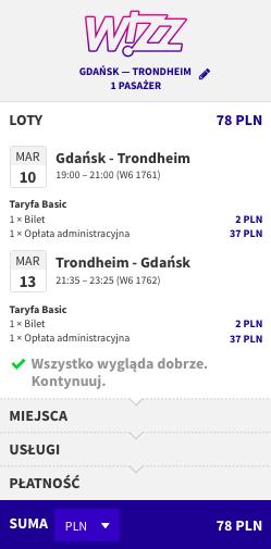 zarezerwuj lot do Trondheim