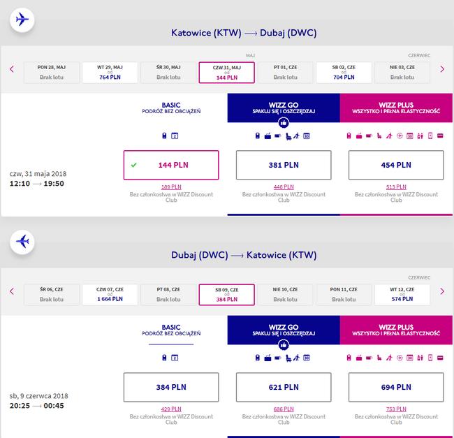 przykładowa rezerwacja lotów do Dubaju