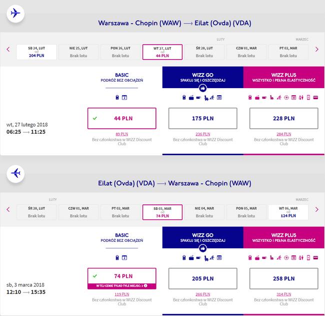 przykładowa rezerwacja lotów do Izraela