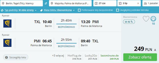 rezerwacja lotów na Majorkę