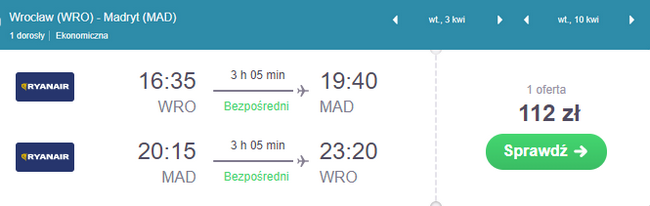 rezerwacja lotów do Madrytu