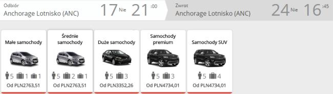 Rezerwacja auta w Anchorage