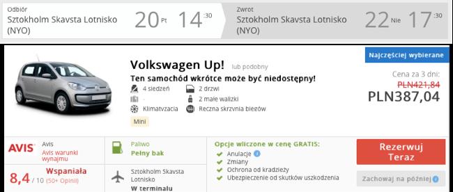 zarezerwuj auto w sztokholmie
