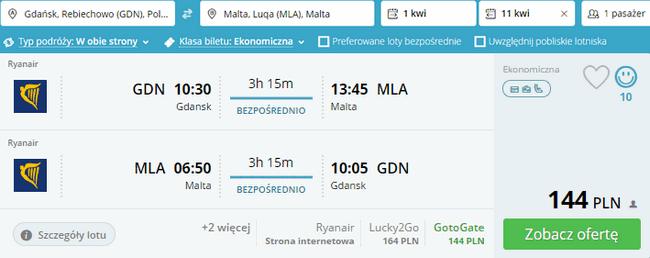 rezerwacja lotów na Maltę