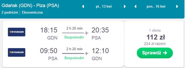rezerwacja lotów z gdańska do pizy