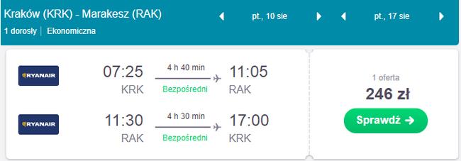 rezerwacja lotów z krakowa do marrakeszu
