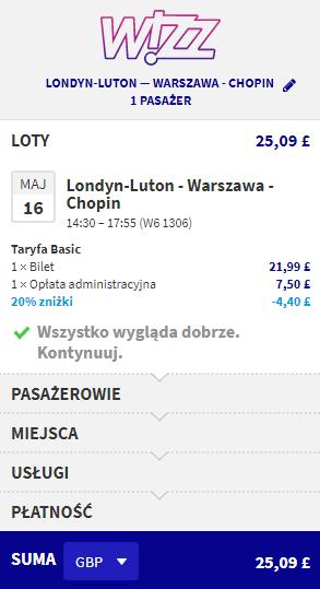 Rezerwacja przelotów z Londynu do Warszawy