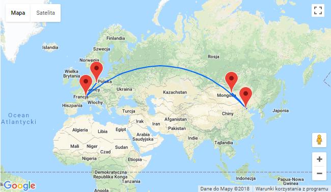 Mapa przelotów