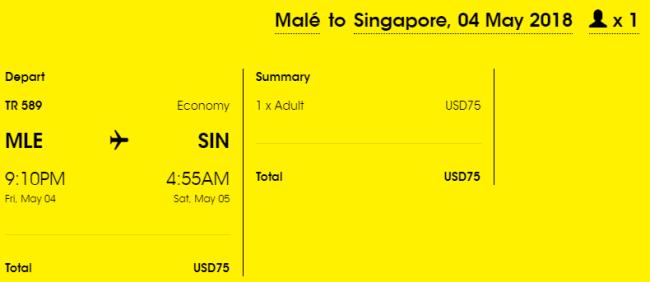 Rezerwacja przelotów z Malediwów do Singapuru