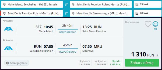Rezerwacja przelotów na trasie Seszele - Reunion - Mauritius
