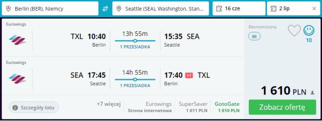 Rezerwacja biletów z Berlina do Seattle