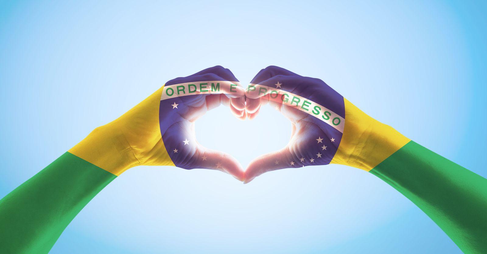 flaga Brazylii z dłoni