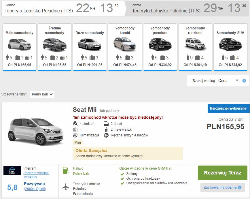 wynajem auta teneryfa