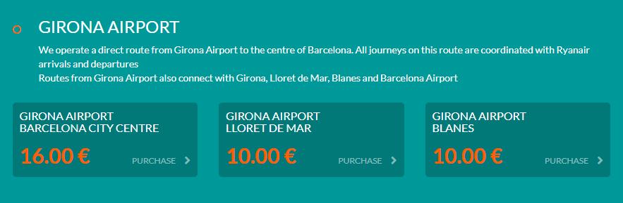 Girona bilet dojazd