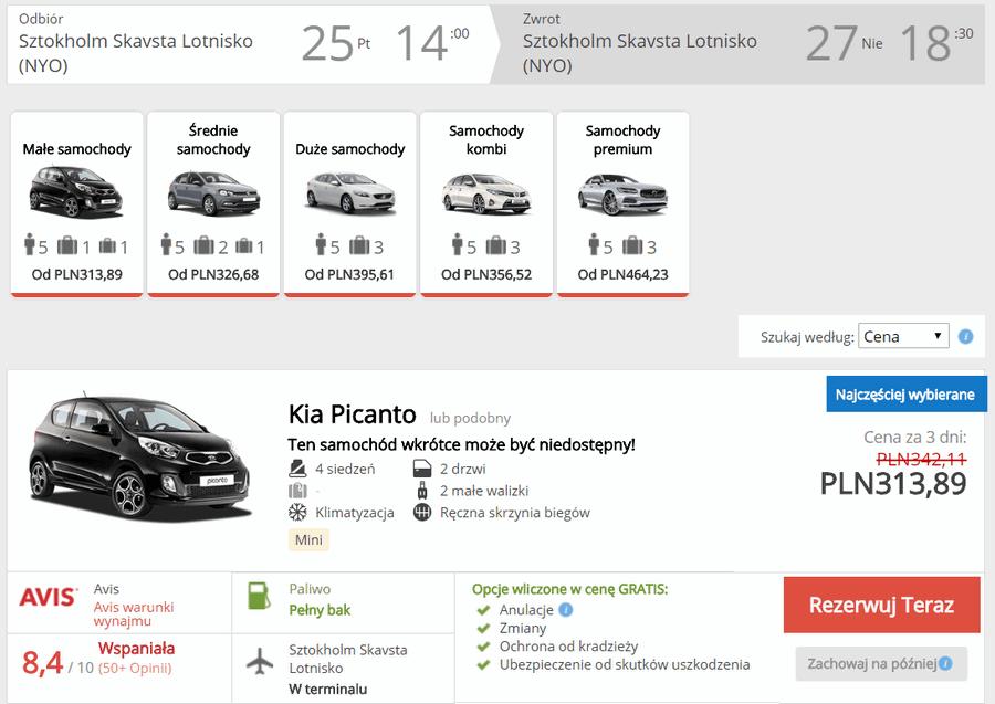 auto wypożyczenie szwecja
