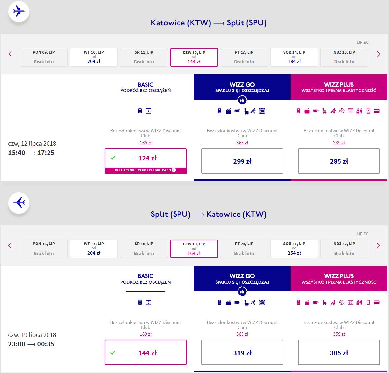 rezerwacja lotów z katowic do splitu