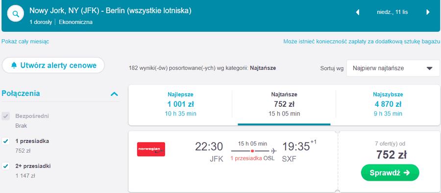 lot z nowego jorku do berlina