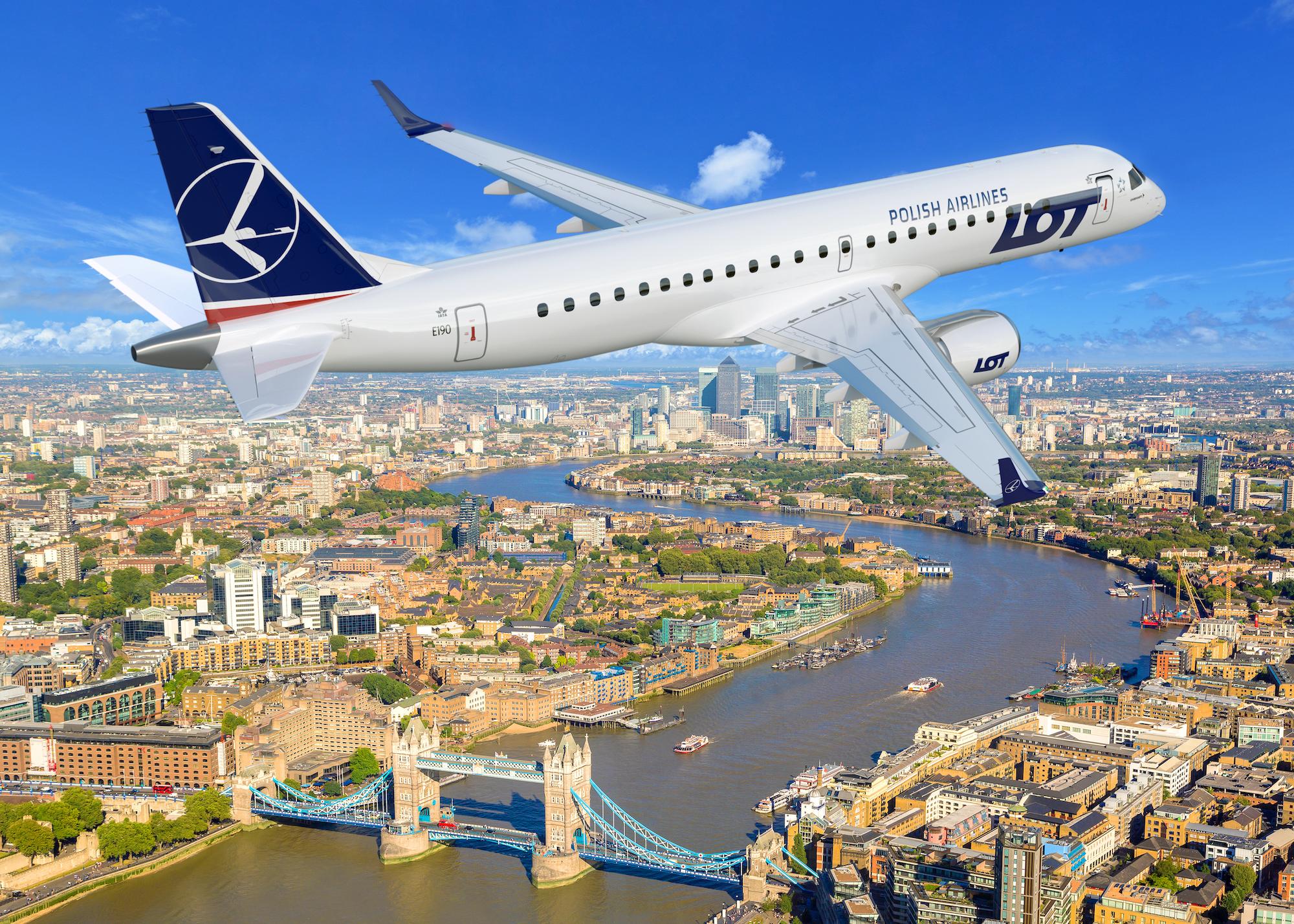 Embraer 190 nad Londynem