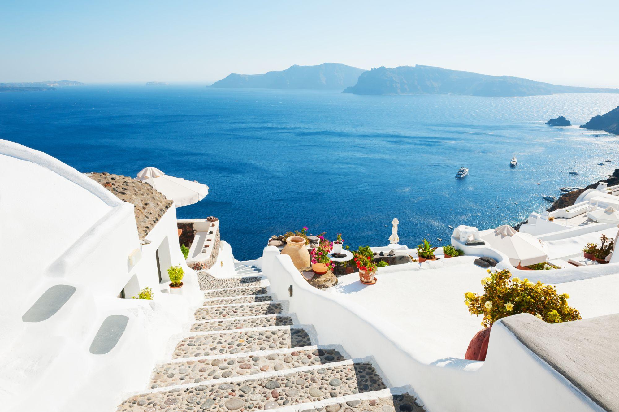 Santorini widok wybrzeża