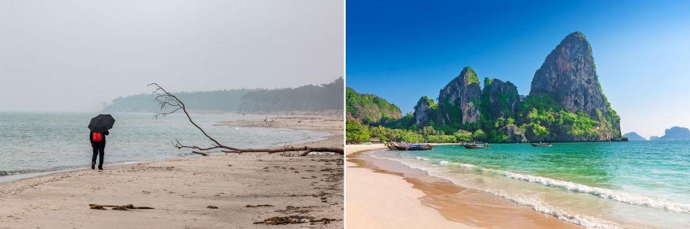 Plaża w Polsce i w Tajlandii