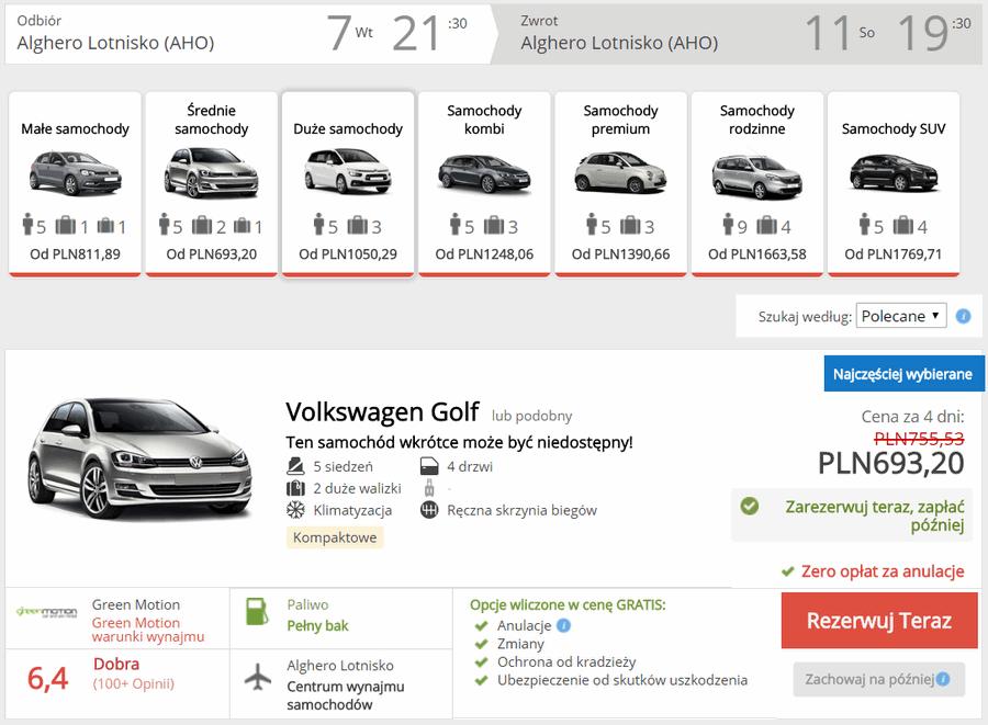 wypożyczenie samochodu alghero