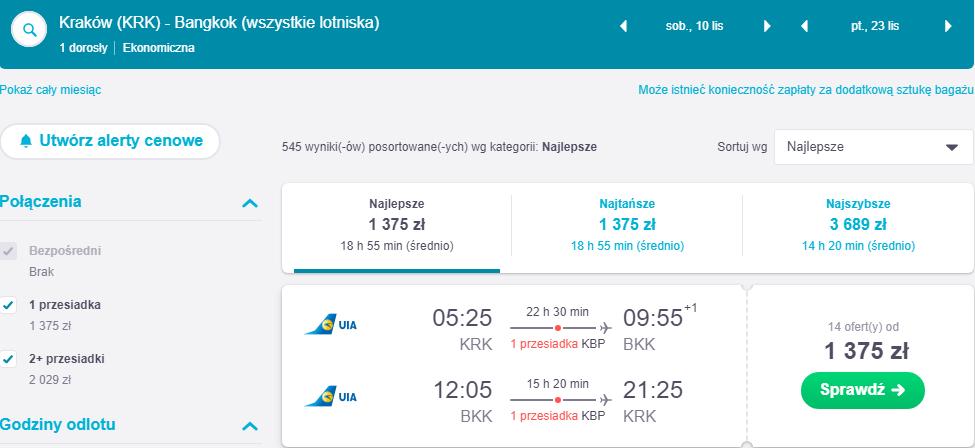 Rezerwacja przelotów z Krakowa do Bangkoku