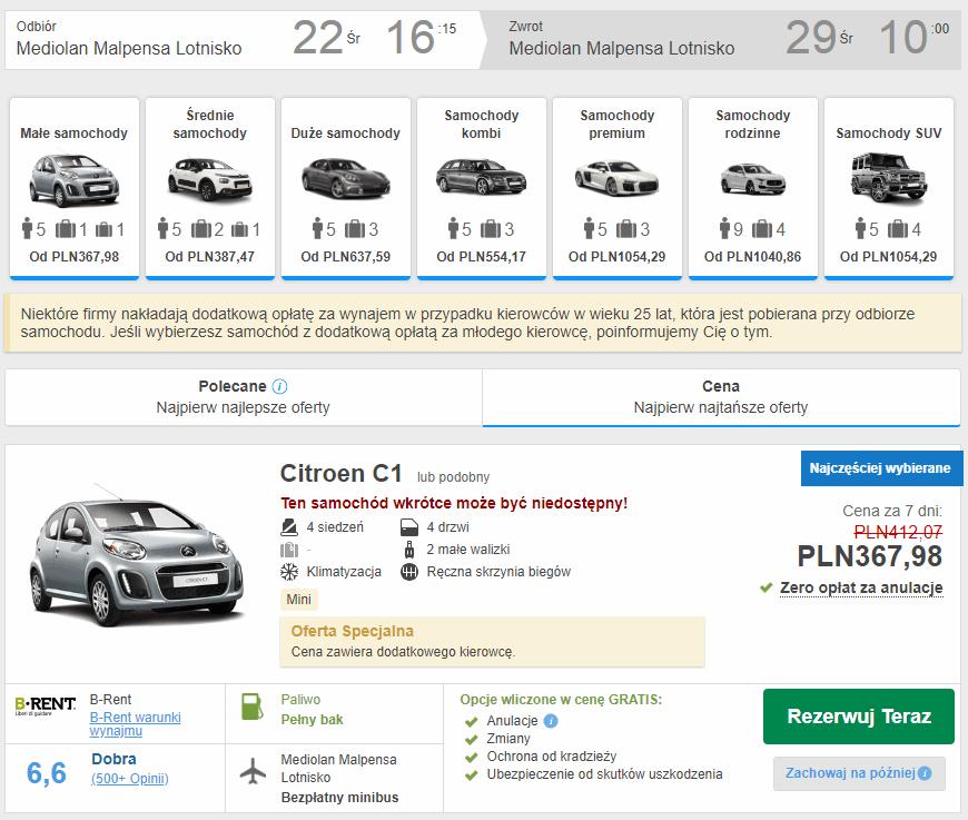 wynajem auta mediolan