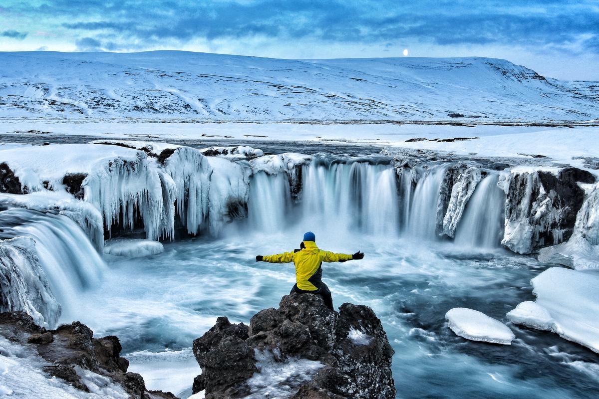 Godafoss Islandia zima