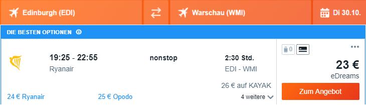 Rezerwacja przelotów z Edynburga do Warszawy