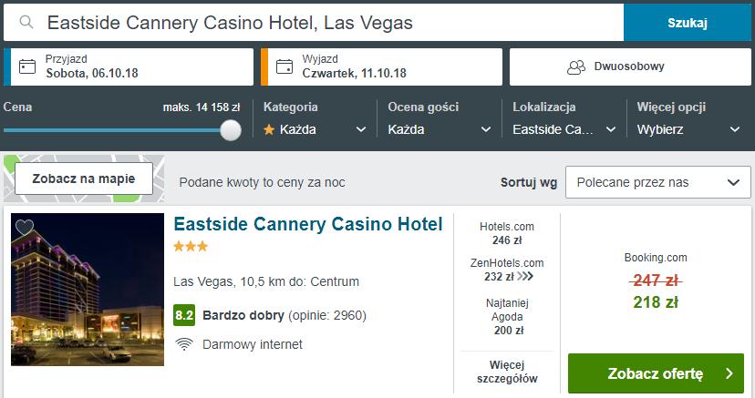 Rezerwacja obiektu w Las Vegas