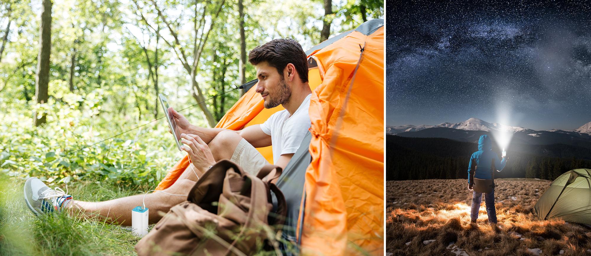 człowiek siedzący przed namiotem