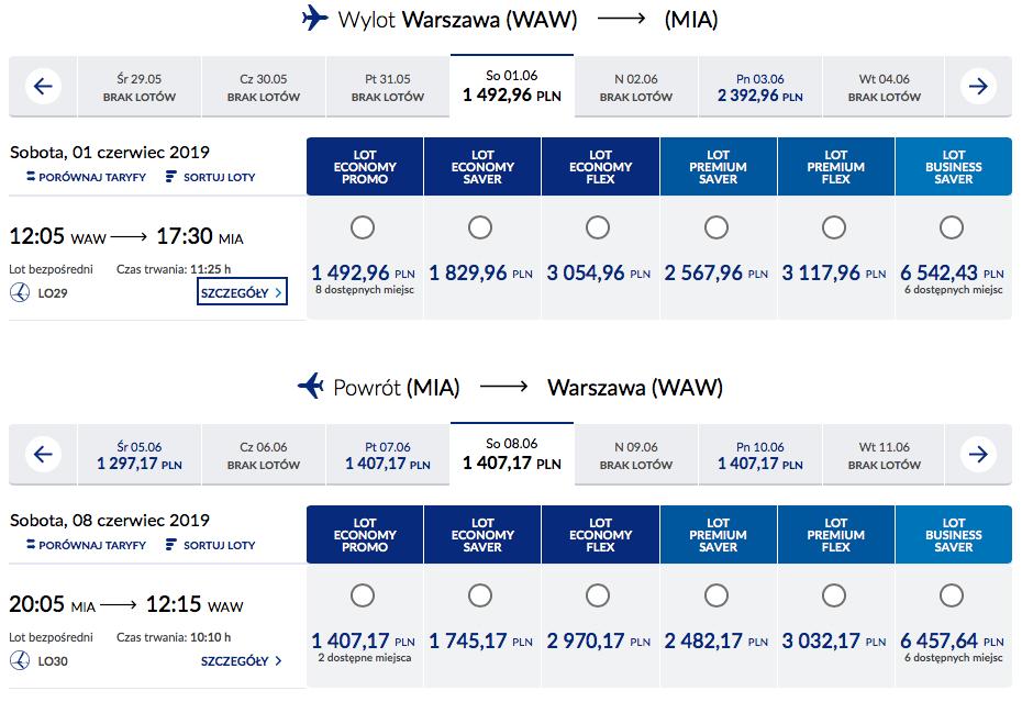 bilety LOT trasa Warszawa Miami