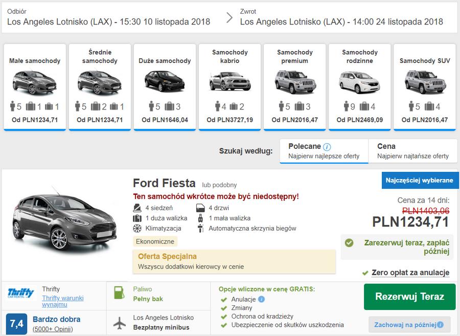samochód kalifornia wypożyczenie