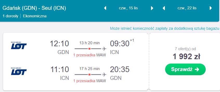 loty do korei południowej z Gdańska