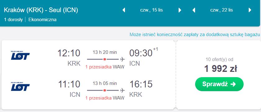loty do korei południowej z Krakowa