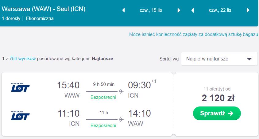loty do korei południowej z Warszawy