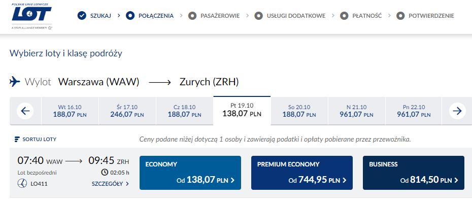 Połączenie do Zurychu