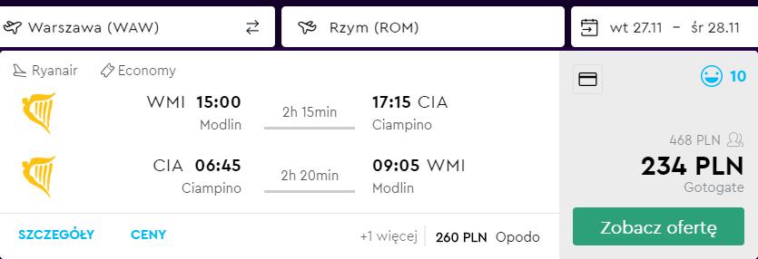 loty do rzymu z warszawy