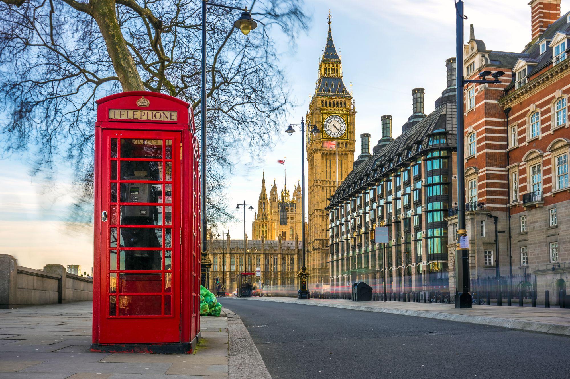 Londyn widok budki telefonicznej