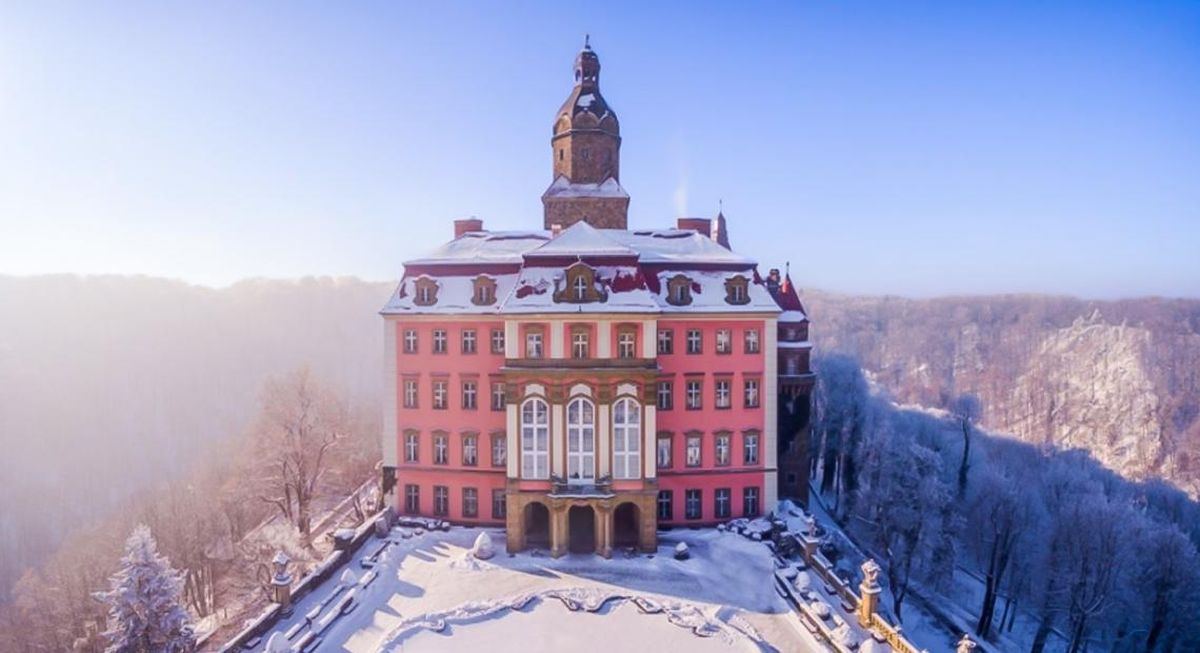 Zamek Książ zimą