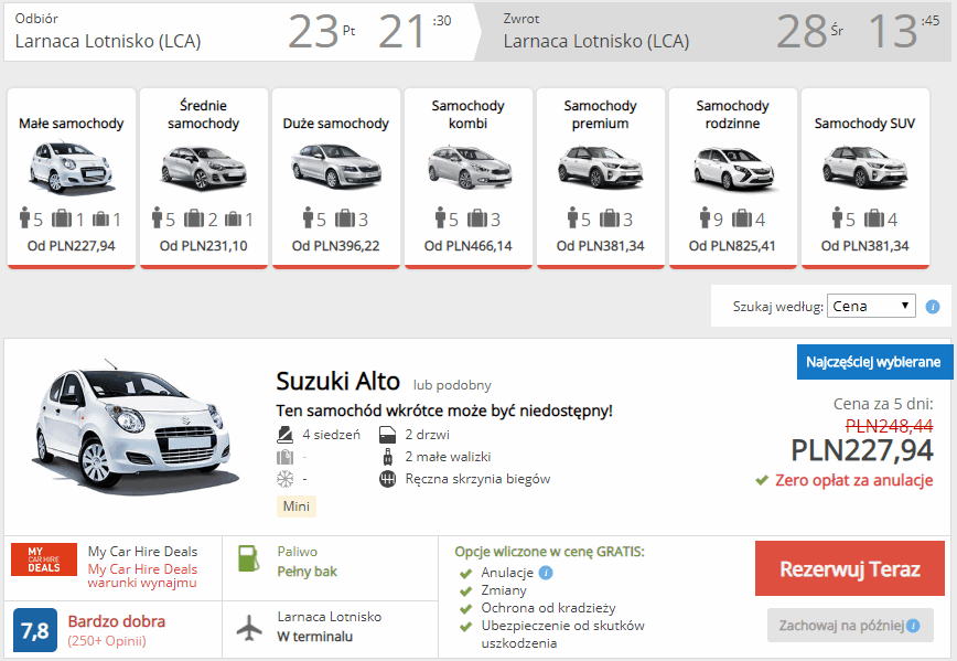 wynajem auta