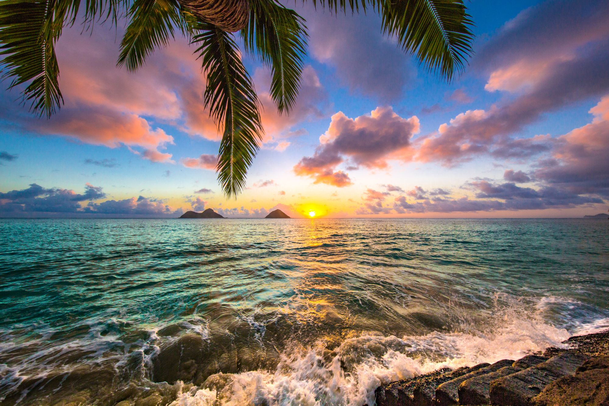 Hawaje widok zachodu słońca