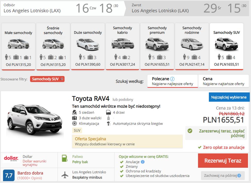 kalifornia auto wypożyczenie